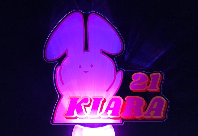 ウサギの形にカットしたオリジナル型のアクリルペンライト